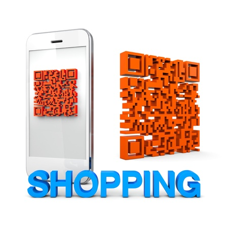 QRcode Mobile Phone Online connect Shopping Business Stock Photo - 15812955