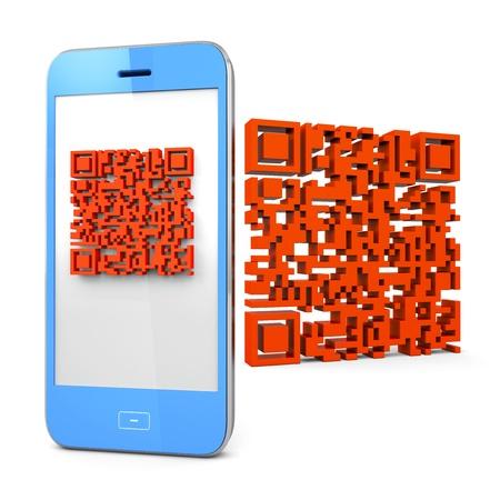 3D render designing for Mobile Phone Scanning QR-code Stock Photo - 15936723