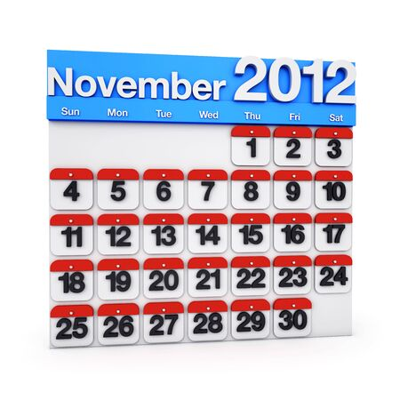 3D render colourful Calendar for November 2012
