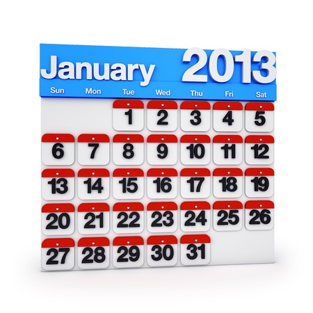 3D render colourful Calendar for January 2013