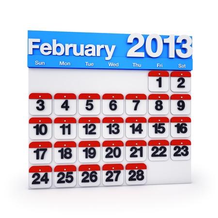 3D render colourful Calendar for February 2013