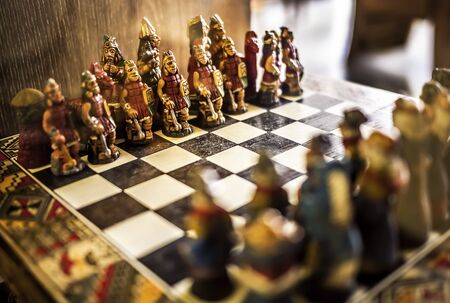 Red Army wood Chess on a chess board. Begin a game. Stock Photo