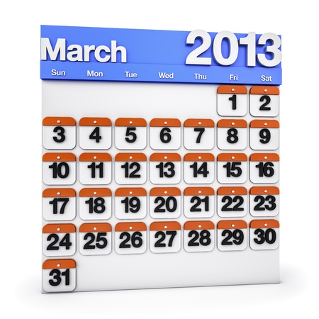 3D render colourful Calendar for March 2013