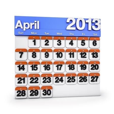 3D render colourful Calendar for April 2013