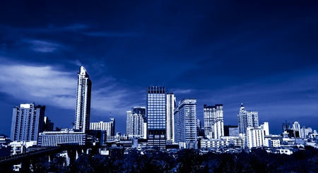 Sepia toned Cityscape view office buildings of Bangkok ,Thailand