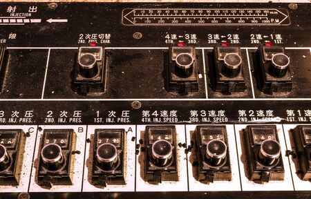 Chinese old and dirty control panel in factory