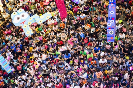 crowd of people in Childrens Day at the big mall waiting for the show Editorial