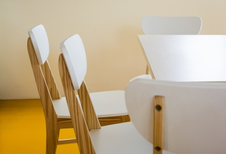 Nice Wood chairs in the library room.studio shot. Stock Photo