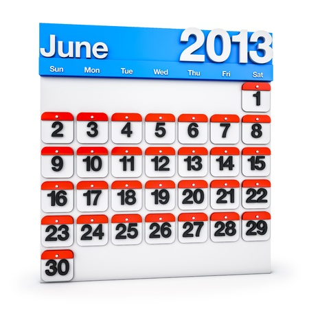 3D render colourful Calendar for June 2013