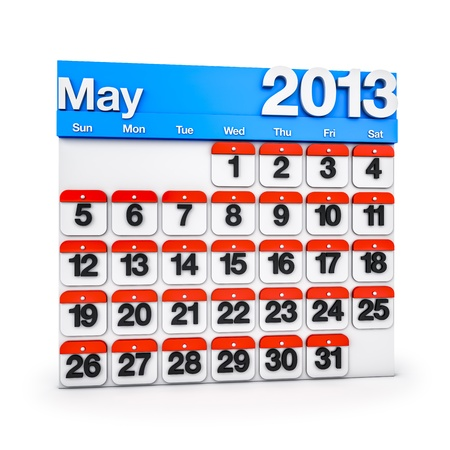 3D render colourful Calendar for May 2013