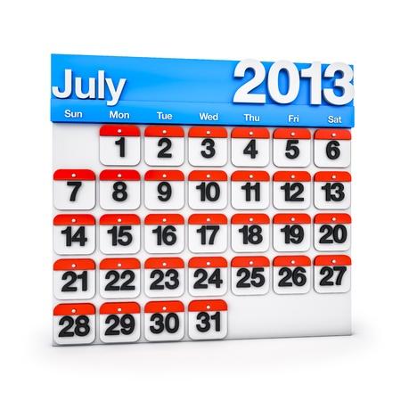 3D render colourful Calendar for July 2013