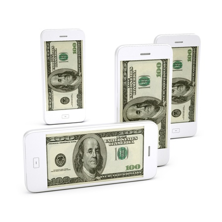 Smart Mobile phone and Hundred dollas on screen Stock Photo