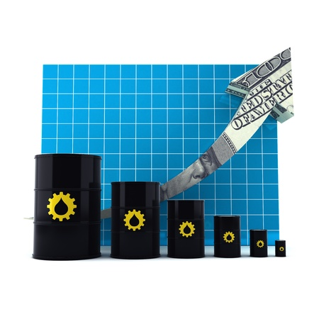 Oil Barrel with the Arrow Graph. JPG with clipping path. Stock Photo