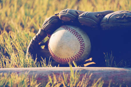 Baseball concept shows ball in glove laying in grass closeup.