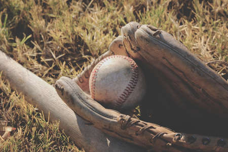 Baseball equipment closeup shows players mitt with ball in grass for vintage sports concept. Stock Photo
