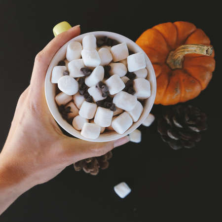 Fall concept shows hand holding mug of hot chocolate for cozy autumn day. Stock Photo