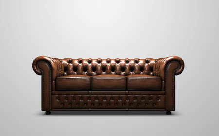 brown leather sofa: Chesterfield Antique Sofa Stock Photo