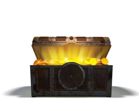 cofre del tesoro: Cofre del tesoro de monedas de oro Foto de archivo