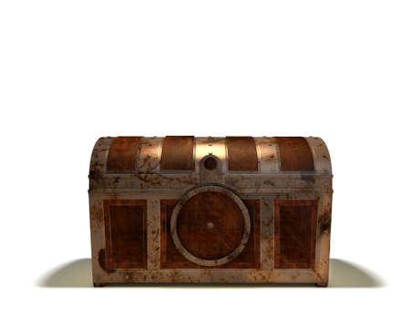 treasure chest: Treasure chest closed on white background Stock Photo