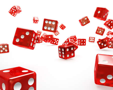 rolling dice: Falling Red Dice Stock Photo