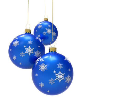 Three blue colored christmas ornaments or baubles Reklamní fotografie