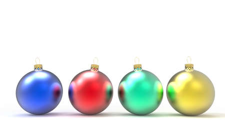 Four colored christmas ornaments or baubles