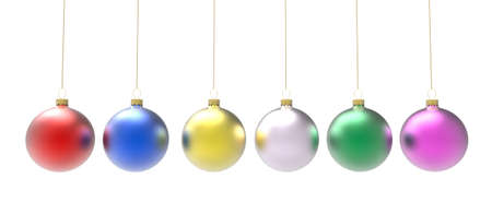 Six colored christmas ornaments or baubles
