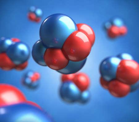 zuurstof: Abstracte 3d render van atomen Stockfoto