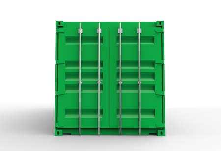 Green cargo container door view