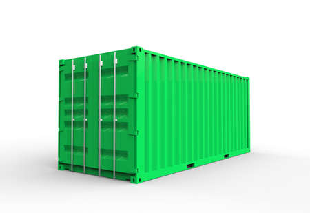 Green cargo container Stock Photo