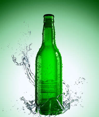 beer bottle: Green Beer Bottle with splash Stock Photo
