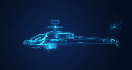 apache: 3D Wire Frame dibujo de Apache Helicopter
