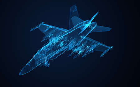 war and military: 3d Wire Frame sketch of F-18 hornet