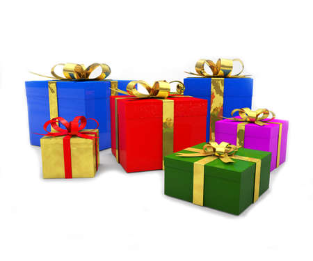 Colorful christmas gift boxes Stock Photo