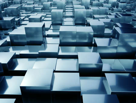 ray tracing: Abstract Metallic cubes background