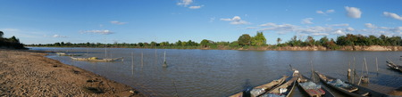 Riverside and boat fishing panorama.