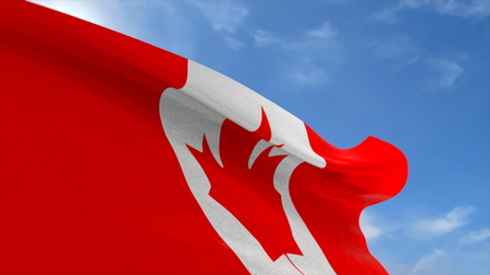 3D rendering, Canada fabric flag waving on the blue sky.