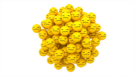 3D rendering. Emoji bored yellow ball on white backgound.