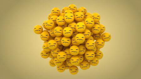 Emoji bored yellow ball on yellow backgound.