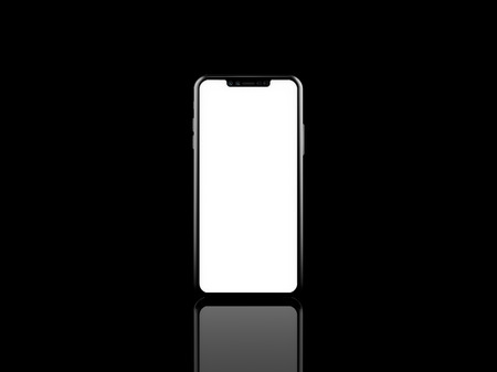 Latest mobile screen mock up on black background 3D illustration front view Stock Illustration - 85476001