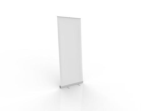 Roll Up Banner Mock-up 3D illustration - Side Facing