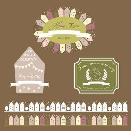 Cute home frame & line set Ilustração Vetorial
