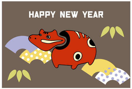 New Year's card with pop red