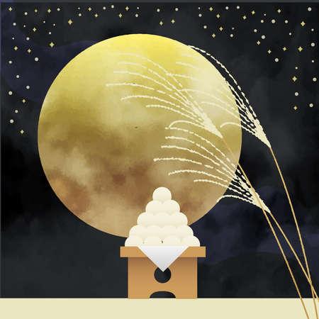 Moon viewing Susuki and Dumplings Illustration