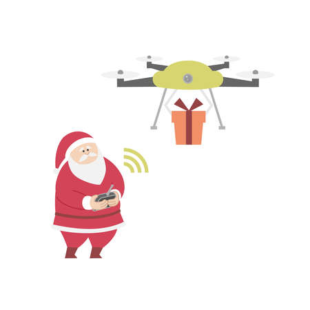 Santa Claus giving out gifts by drone