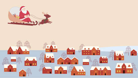 Santa Claus Flying in the Winter Town Stock Illustratie