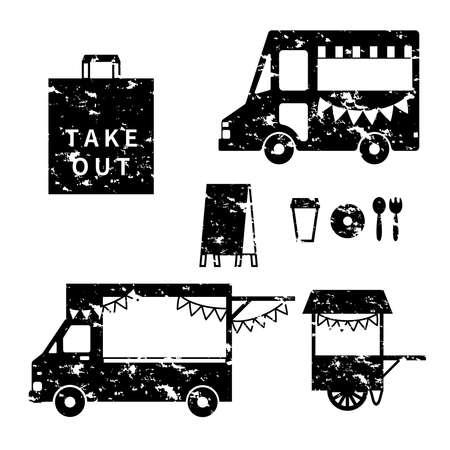 Stamp-style kitchen car icon set