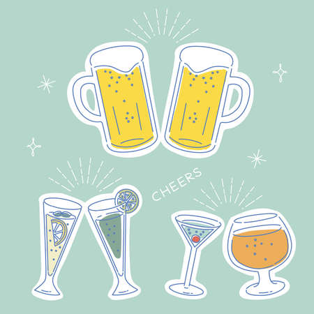 Illustration toast with cocktail and beer 矢量图片