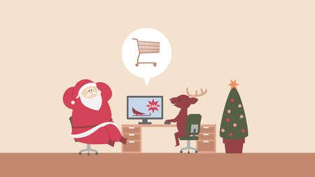 Reindeer and Santa Claus ordering sleighs online