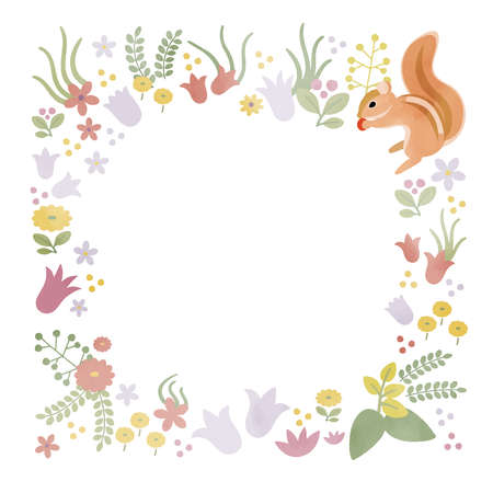Cute frame of flowers and squirrels